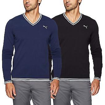 Puma Golf Mens Evoknit V Neck WarmCELL Ribbing Sweater