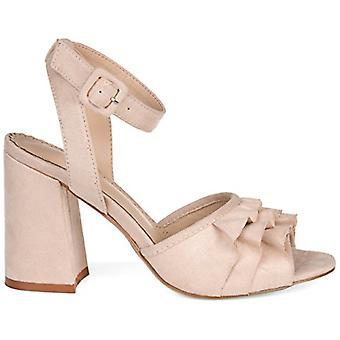 Brinley Co. Womens Baia Ruffle Faux Suede Ankle-Strap Heels
