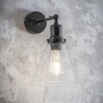 Garden Trading Hoxton Cone Glass Wall Light In Antique Bronze