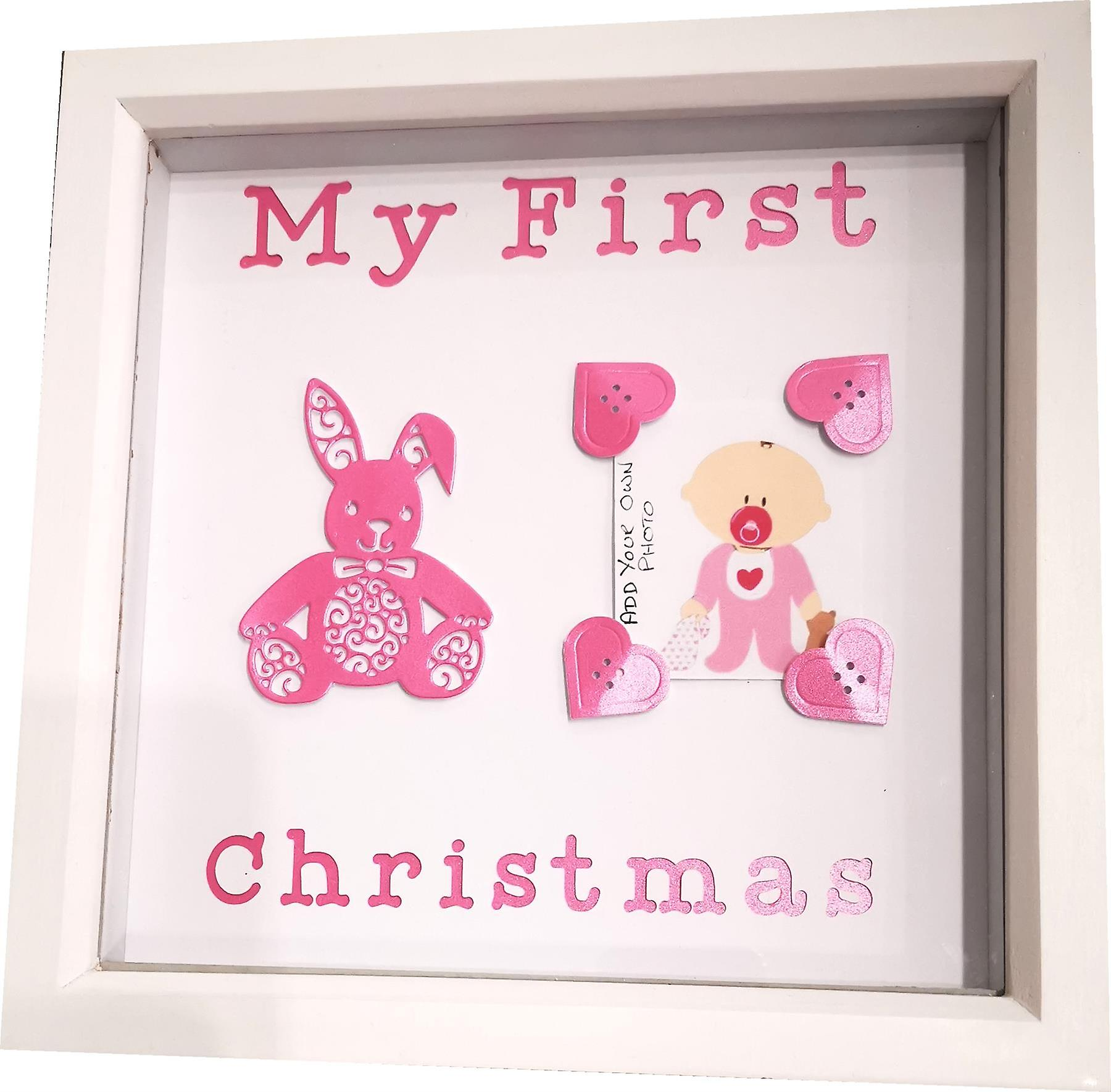 Sweet Pea Designs Frame My First Christmas Frame Pink
