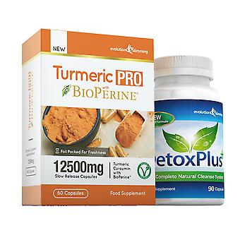 Turmeric Pro with BioPerine and DetoxPlus Combo Pack - 1 Month Supply - Dietary Supplement and Cleanse - Evolution Slimming