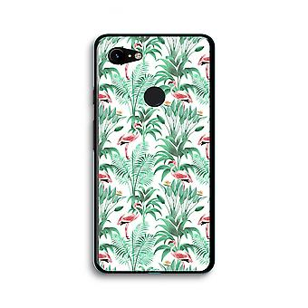 Google Pixel 3 XL Transparent Case (Soft) - Flamingo leaves