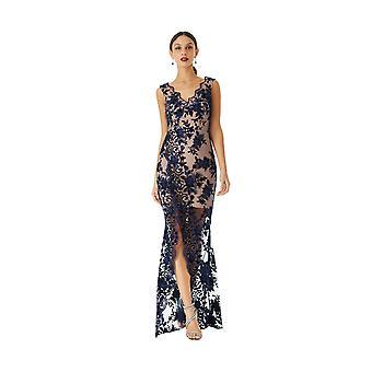 Goddiva Embroidered V-Neck Split Maxi Dress