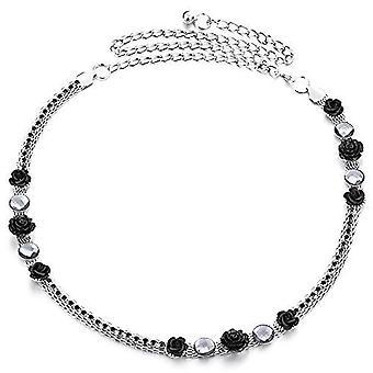 47 tums Diamante rhinestone och svart ros blomma design midja kedje bälte