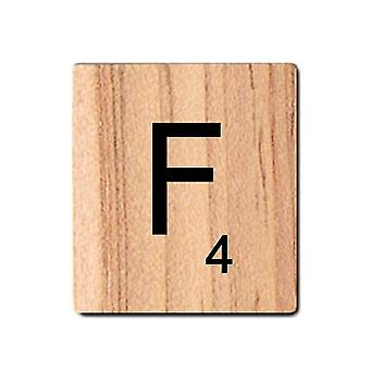 Black Wooden Scrabble Letters with Printed Numbers and Alphabets -F