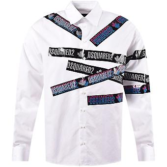 DSQUARED2 לוגו מודפס חולצה לבנה שרוול ארוך