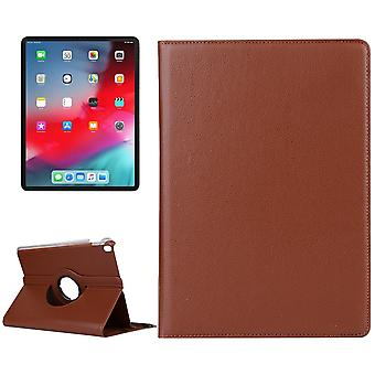 Voor iPad Pro 12,9 Inch (2018) Case, Lychee Texture PU Leather Folio Cover, Brown
