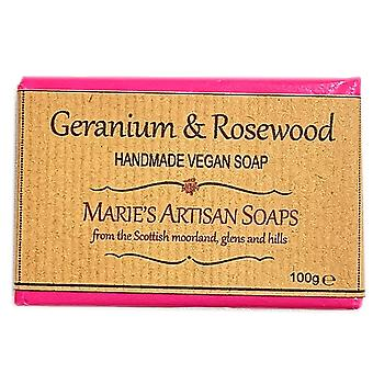 Marie's Artisan zepen Vegan Handmade Soap 100g - Geranium & Rosewood