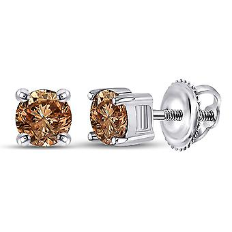 1.00 Carat (ctw I2-I3) Champagne Brown Diamond Solitaire Stud Earrings in 10K White Gold