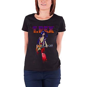 T-rex T Shirt Marc Bolan Rockin T.rex new Official Womens Skinny Fit Black