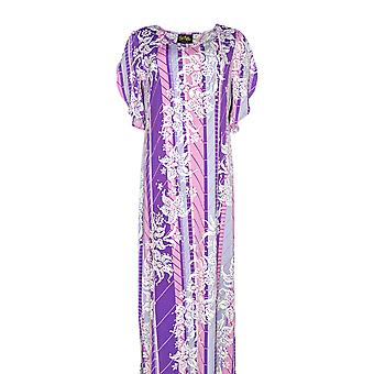 Bob Mackie Dress Floral Printed Tulip Sleeve Knit Purple A290712