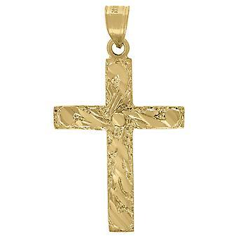 10k sárga arany férfi nők texturált kereszt vallási charm medál nyaklánc intézkedések 35.4x20.50mm Széles Ékszer Ajándékok
