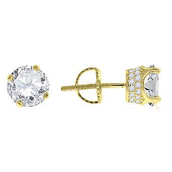 925 plata esterlina amarillo tono hombres CZ Cubic Zirconia simulado diamante 7mm piedra blanca Stud pendientes regalos de joyería para
