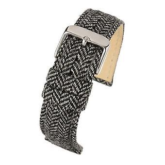 نسيج ووتش حزام أسود تويد الفولاذ المقاوم للصدأ مشبك حجم 18mm إلى 22mm