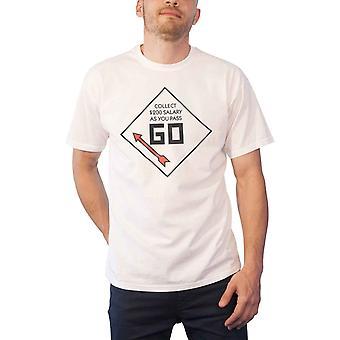 Monopoli T Shirt Pass Go Collect logo nuovo ufficiale Hasbro Mens White