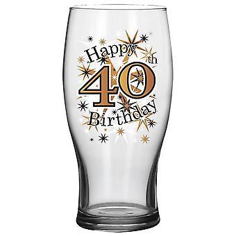 Simon Elvin Keepsakes Black Gold 40th Beer Glass