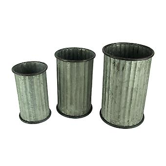 Rustic Farmhouse Classic Column Cylinder Planter Set of 3