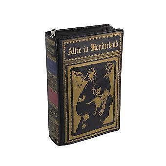 Black Vinyl Alice In Wonderland Book Handbag Novelty Clutch Purse Crossbody Bag