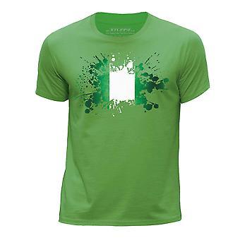 STUFF4 Boy's Round Neck T-Shirt/Nigeria/Nigerian Flag Splat/Green