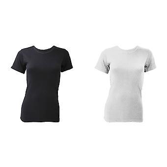 فلوسو السيدات/المرأة الملابس الداخلية الحرارية قصيرة الأكمام تي-شيرت/أعلى (مستوى النطاق)