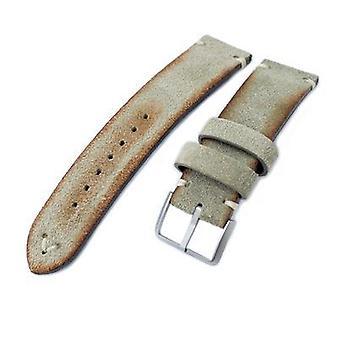 Strapcode leather watch strap 20mm, 21mm, 22mm miltat grey green genuine nubuck leather watch strap, beige stitching, sandblasted buckle