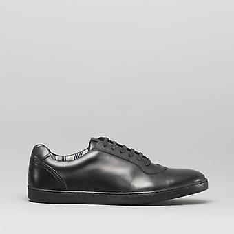 Base London Hustle Mens Leather Trainers Black