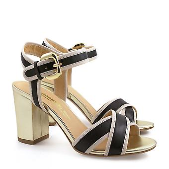 Italian heels sandals in black/beige and gold leather