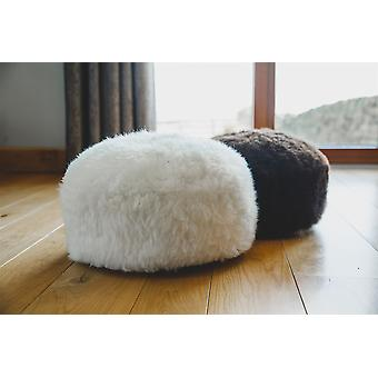 Nordvek Luxury Natural Sheepskin Pouffe Footstool - 35x35cm Ottoman # 9021-100