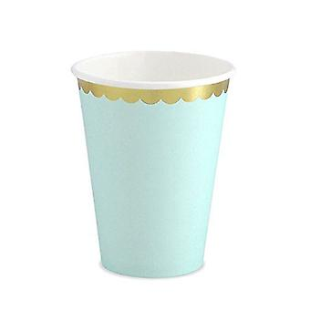 Paper Cups MINT GREEN Party Baby Shower Gold Scalloped Edge x 6