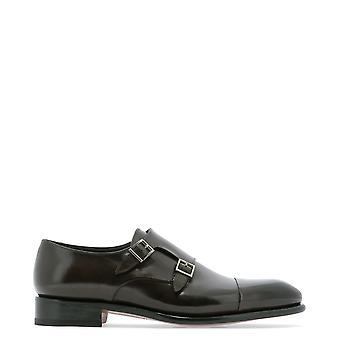Santoni Mccr11652mc1hvvdt50 Men's Brown Leather Monk Strap Shoes