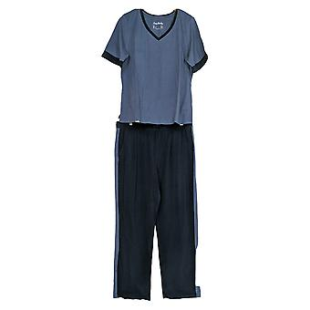 Anybody Women's Pajama Set Cozy Knit Color Block Blue A310149
