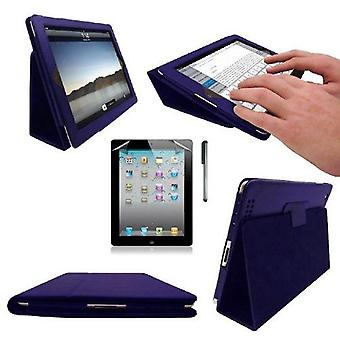InventCase Apple iPad 2/3/4 9.7 inch Smart Multi-Functional PU Leather Case Cover - Blue