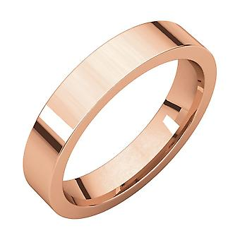 14k Rose Gold 4mm Flat Comfort Fit Band Ring Jewelry Gifts for Women - Ring Size: 5 to 8