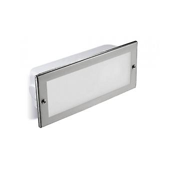 E27 Hercules Recessed Wall Light, Stainless Steel And Glass