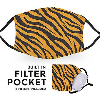 Tiger Print - Reusable Childrens Cloth Face Masks - 2 Filters Included