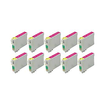 RudyTwos 10 x reemplazo para Epson Caballito tinta unidad Magenta Compatible con Stylus Photo R200, R220, R300, R300M, R320, R325, R330, R340, R350, RX300, RX320, RX500, RX600, RX620, RX640