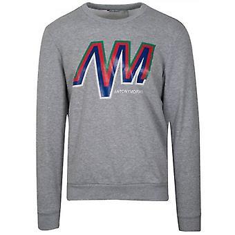 Antony Morato szürke logo Crew nyak pulóver