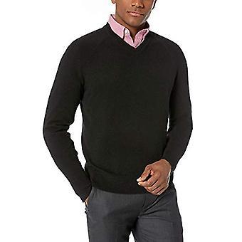 BUTTONED DOWN Men's 100% Premium Cashmere V-Neck Sweater, Black, Large