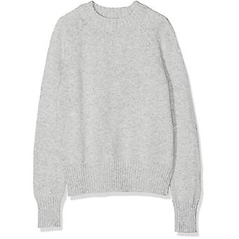 Meraki Women's Boxy Crew Neck Sweater, Grey Melange, EU M (US 8)