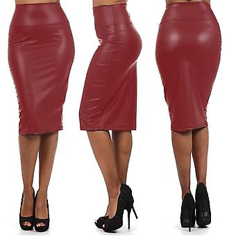 Womens Wet Look Faux Leather Pencil Stretch Midi Skirt