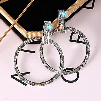 Large Statement Crystal Hoops - Silver
