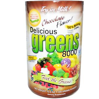 Greens World, Delicious Greens 8000, Chocolate Flavor, Powder, 10.6 oz (300 g)