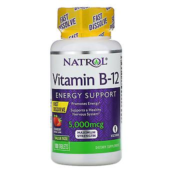 Natrol, Vitamin B-12, Fast Dissolve, Maximum Strength, Strawberry, 5,000 mcg, 10