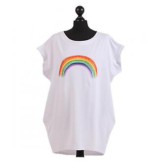 Womens Rainbow Print Dipped Hem Top | White | One Size (UK 14-20)