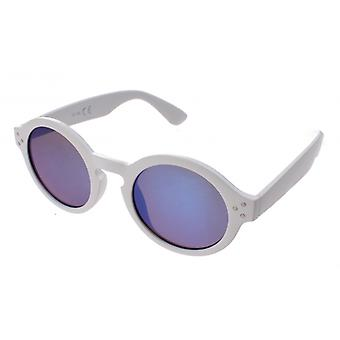 Sunglasses Unisex White with Blue Mirror Lens (16-169)