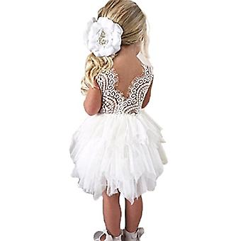 Topmaker Backless A-line Lace Back Flower Girl Dress (4T, White)