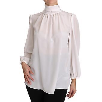 Dolce & Gabbana bianco seta blusa Pussybow Solid Longsleeve Top TSH3137-40