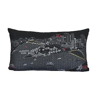 Pittsburgh impresión pictórica horizonte contemporáneo lana día / noche cojín