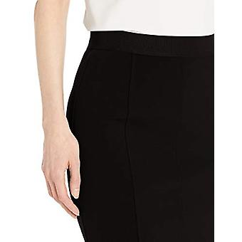 Lark & Ro Women's Elastic Waist Pencil Skirt with Princess Seams, Black, 6