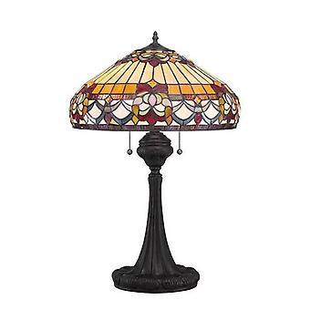 2 Ljus Tiffany bordslampa Vintage Brons, E27